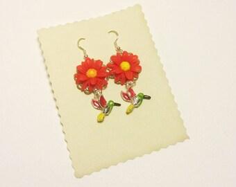 Paradise bird, hummingbird and flower earrings  * READY TO SHIP*