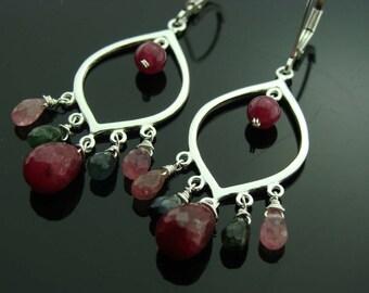 Ruby Watermelon Tourmaline Chandeliers 925 Sterling Silver Earrings