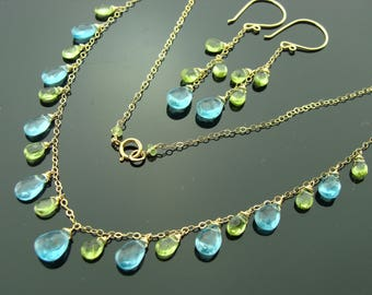 Apatite and Peridot 14K Gold Filled Gemstone Necklace and Earrings Set
