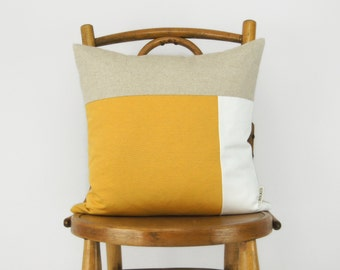 Color Block Decorative Pillow Case in Yellow, White and Natural | Geometric 16x16 inches Cushion Cover | Modern and Minimalist Home Decor