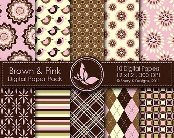 40% off Brown & Pink Paper Pack - 10 Digital papers - 12 x12 - 300 DPI