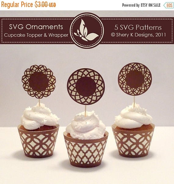 40% off SVG Ornaments Cupcake Topper and Wrapper