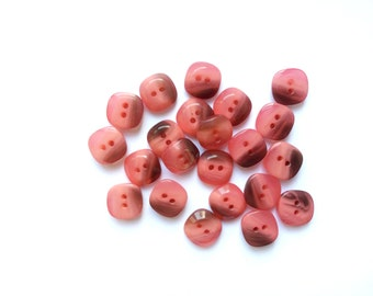 8 Pink Buttons, Flamingo Pink, Vintage Buttons
