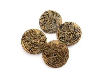 4 Antique Gold Metal Buttons, Large, Flower, Leaves, Gold, Shank