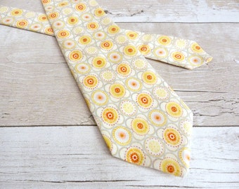 Yellow Necktie - Liberty Print Tie - Geometric Print Necktie - Floral Wedding Tie - Lemon Yellow Tie - Gifts for Brother - Fathers Day Gifts