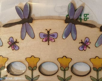 Dancing Dragonflies wooden hand painted thread keep by MTV Cross Stitch Designs