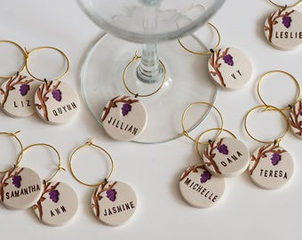 Grapevine Personalized Ceramic Wine Glass Charms - Napa Vineyard Wedding, Bachelorette, Rehearsal Dinner, Anniversary Party