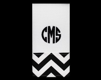 Three Initial Monogrammed Kitchen Towel or Hand Towel in Black / White Chevron | Housewarming Gift | Hostess Gift | Gifts for Her | Wedding