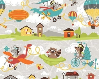 Sale Little Flyers Riley Blake Airplane Main Gray Children's Spaceship Fabric Half Yard
