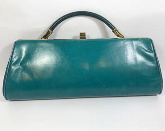 Teal leather clutch handbag hill and dale vintage