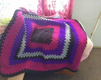 Purple and Pink Baby Crocheted Afghan