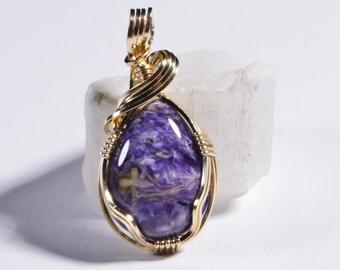 Charoite Pendant Handmade Larimar jewelry Charoite Jewelry Wire Wrapped Jewelry