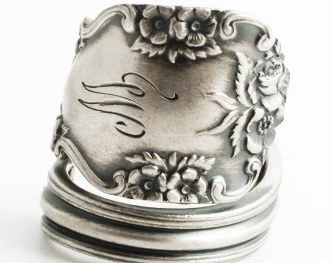 "Sterling Silver Wild Rose Spoon Ring, Floral Victorian Ring with Engraved W,  Vintage International Silver ""Rosalind"", Adjustable Ring 6424"