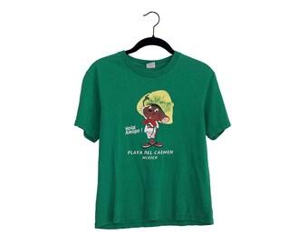 Vintage Speedy Gonzales Hola Amigo! Playa Del Carmen, Mexico Green Faded T-Shirt, Made in Mexico