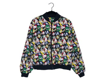 """Vintage Snoopy Friends """"Peanuts by Design""""  Graphic All Over Print 100% Cotton Bomber Jacket, Made in USA - Large"""