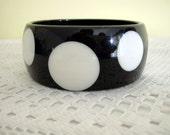 Black Lucite Plastic White Polka Dot Spots Bangle Retro Chic Wide Chunky Cuff