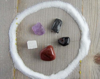 Crystal set - protection - wiccan crystals, witchcraft gemstones, wicca pagan supplies supply occult witchy home decor