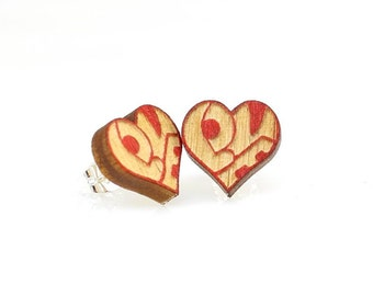 Love Heart Studs -  Laser Cut Earrings from Reforested Wood