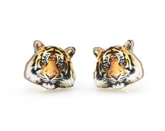 Tiger Stud Earrings - Laser Cut Wood - Super light weight Earrings