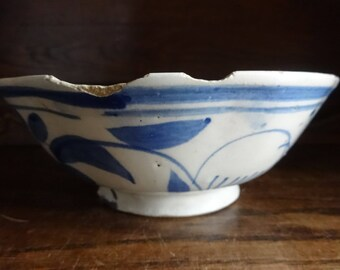 Antique Chinese White Blue Large Rice Noodle Serving Bowls Dish Damaged Chipped circa 1800's / English Shop