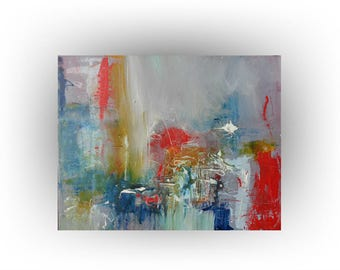 ORIGINAL Abstract Painting Blue, Red, Grey - 16 x 20 - That Special Place - Skye Taylor Artist