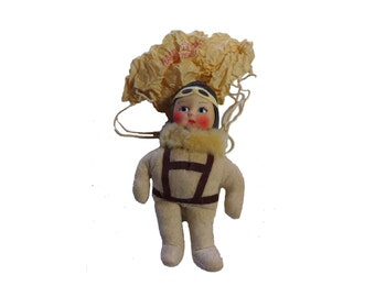 "Vintage 1940s WWII 7"" Paratrooper Pilot Raggy Doodle Toy Doll Fort Benning GA"