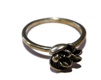 Vintage Sterling Silver Flower Floral Rose Ring Size 8 #2205