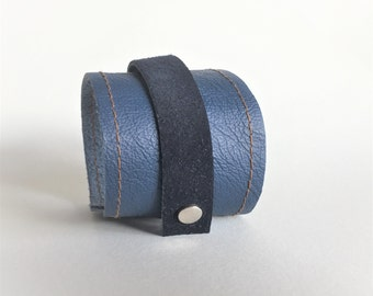 blue wrap bracelet cuff made with genuine leather - gift for him - blue cuff - fathersday gift - blue suede and leather lightweight cuff