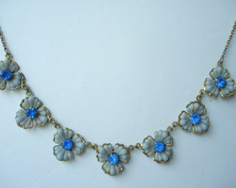 Art Deco Glass Necklace Blue Rhinestones 1920's 1930's