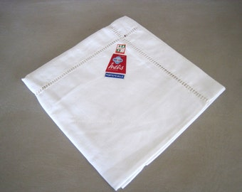 Metis Linen Pillowcase Vintage French Oxford Style Linen Fleur Bleue Unused Original Labels Portefeuille Samaritaine Paris