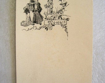 SALE Antique French Wedding Menu Hand Drawn in Ink Dating to 1899 - Unused - Oriental Design Original and Rare