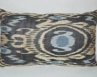 Amazing Uzbek ikat, adras pillowcase, silk/cotton pillow