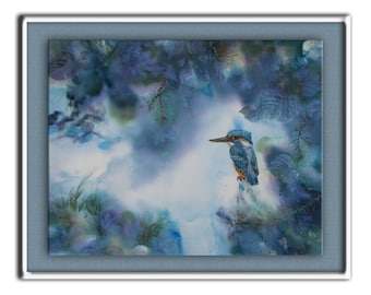 Kingfisher, mixed painting with bird, mountain, blue misty landscape, mist, frost, waterfall, orphic fantasy art, Bulgaria, Bistra Sirin