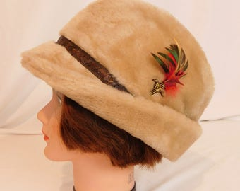 Vintage Men's Fuzzy Fedora Hat with Feather