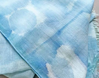 Blue  Scarf, Blue Shibori Scarf, Blue Cotton Scarf, Hand Painted Scarf, Watercolor Scarf, Boho Scarf, Hand Dyed Scarf, Festival Scarf, USA