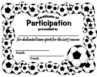 2017 Soccer Sports Certificate - Digital Download