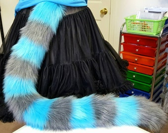 Turquoise and Gray Stripe Cat Tail
