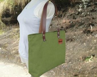Grass green canvas tote bag feminist leather shoulder bag personalized travel bag diaper bag women shopping bag handbag bridesmaid gift