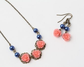 Coral  and navy Flower girl necklace, Coral rose necklace, Coral and navy wedding jewelry, junior bridesmaid gift, rustic wedding necklace