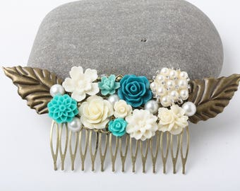 Bridal Hair Comb, teal wedding hair accessories, teal blue and white hair comb, rustic wedding, Maid of Honor Gift, teal Hair Accessories