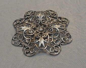 LuxeOrnaments Antiqued Sterling Silver Plated Brass Filigree Focal 37mm Dapped (1 pc) F-8331-S