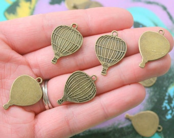 HOT AIR BALLOON Charms..smooth. jewelry making. alloy pendants. diy. necklace. charm bracelet. antique. charms. bronze. balloons. flying.