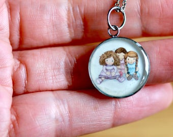 DOLLS PENDANT (Small and medium) - Handmade resin pendant with stainless steel chain - Perfect for little or big girls