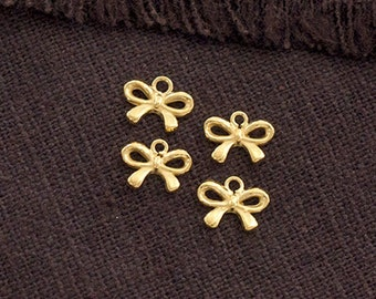 4 of 925 Sterling Silver 24K Gold Vermeil Style Small Bow Charms 6x8 mm.  :vm0837