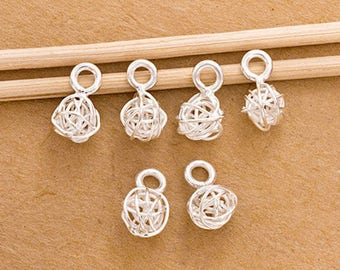 6 of Karen Hill Tribe Silver Wire Ball Charms 7-7.5 mm. :ka4279