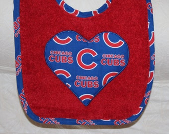 Chicago Cubs Baby Baseball Baby Girl Cubs Heart Bib on a Red Terry Bib with Cubs Baseball Trim for Chicago Cubs Baseball Baby Girl Cubs Fan