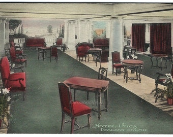 Hotel Utica Italian Salon Postcard, Upstate New York, Antique 1915 Victorian Hand-Colored Ephemera, FREE SHIPPING