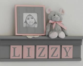 Personalized Grey Shelf with Light Pink / Gray Wooden Letter Plaques | Nursery Name Letters | Gift for Girl | Girl Room Decor