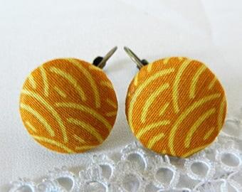 Yellow Japanese Cloth Earrings