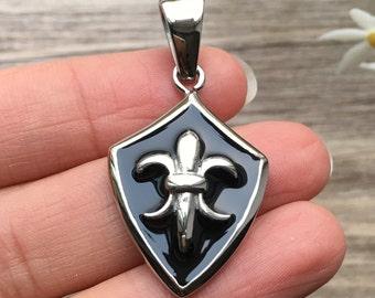 Fleur De Lis Shield Stainless Steel Pendant - Men Jewelry